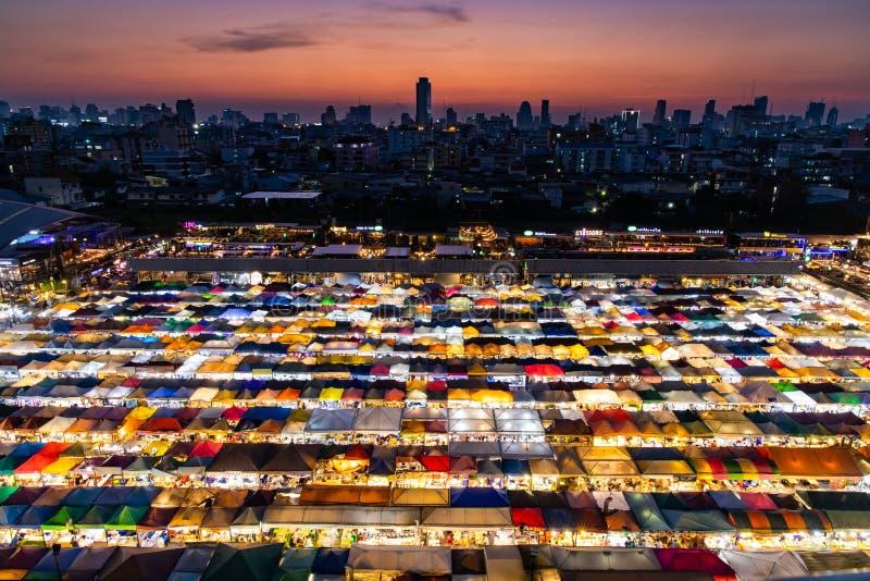 Train Night Market Ratchada, Bangkok, Thailand stock photo