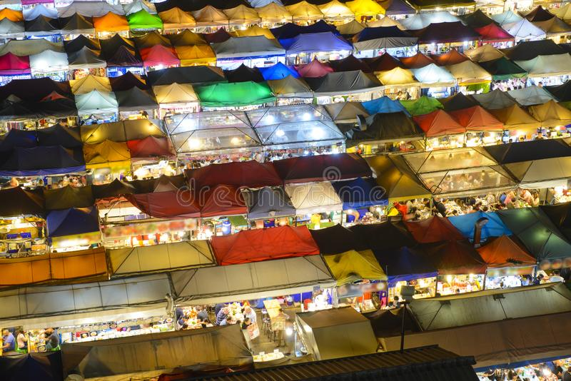 The Train night market Ratchada at Bangkok in the night time stock photo