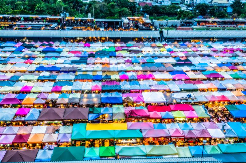 Color roof in Train Night Market Ratchada royalty free stock photos