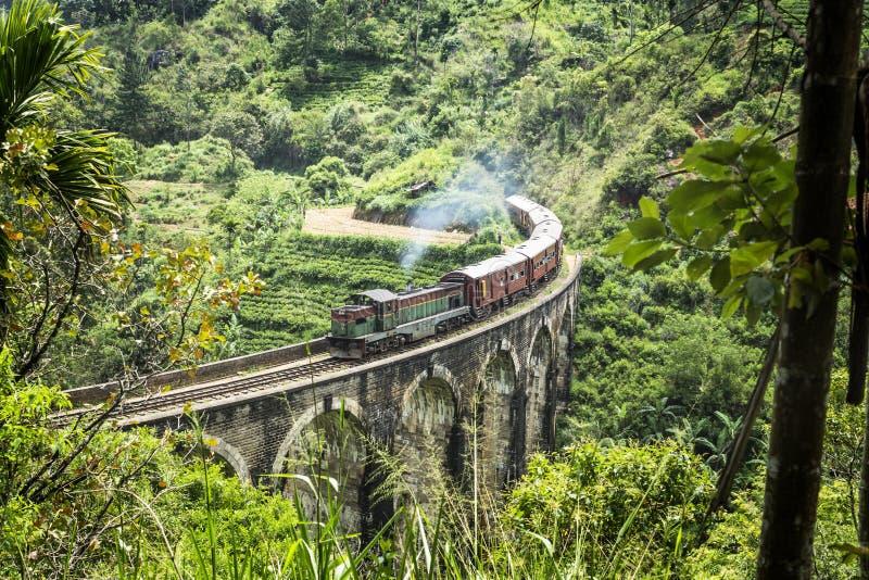 Train on the nine arch bridge, Ella, Sri Lanka. Train on a bridge in Ella stock photo