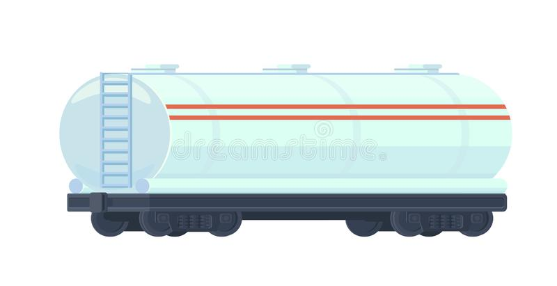 Train oil or gasoline tank on railway car. Rail freight. Oil industry Vector flat illustration isolated on white. stock illustration