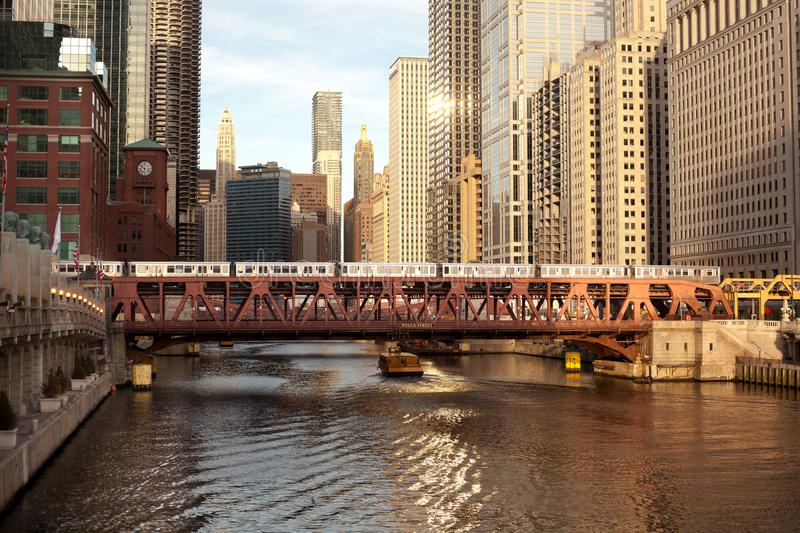 Train over the Chicago River on Wells Street royalty free stock photo