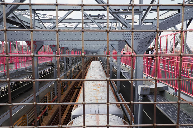 Train over williamsburg bridge stock image