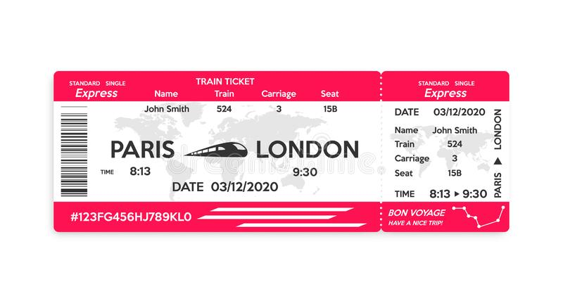 Train pass ticket isolated on white background stock images