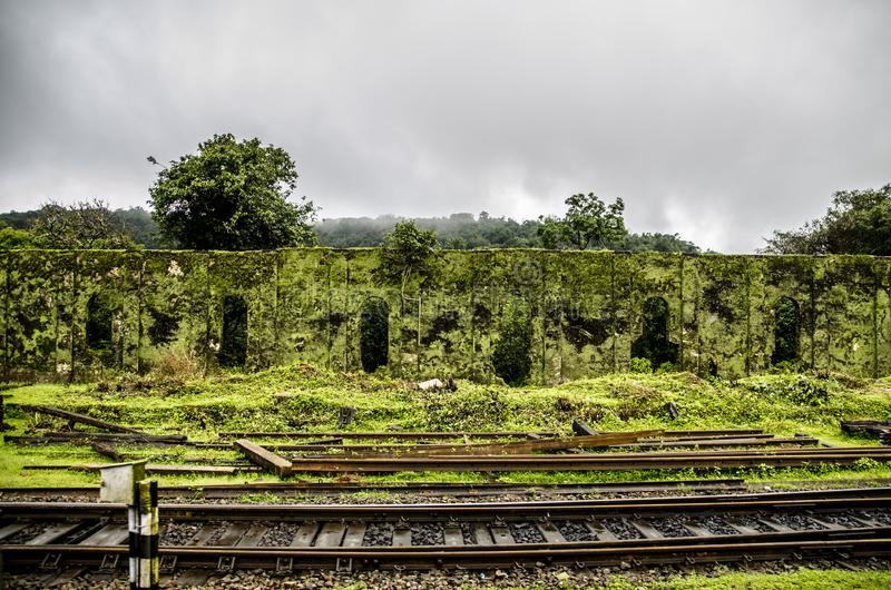 Train photography during monsoon royalty free stock photography