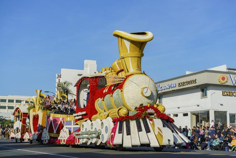 Train and piano float in the famous Rose Parade royalty free stock images