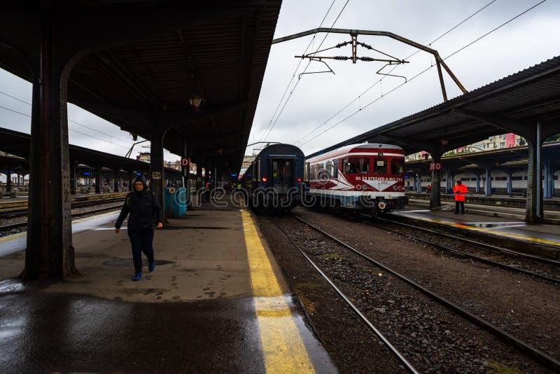Train on the platform of Bucharest North Railway Station Gara de Nord Bucuresti in Bucharest, Romania, 2019.  royalty free stock image