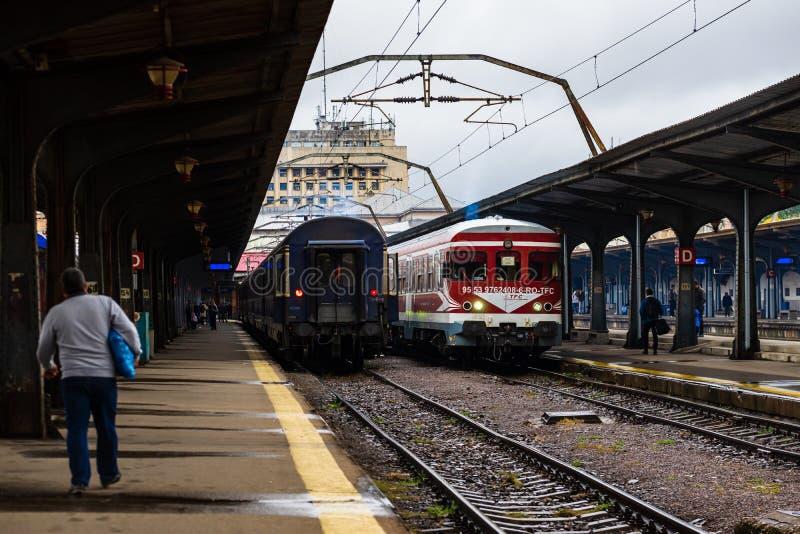 Train on the platform of Bucharest North Railway Station Gara de Nord Bucuresti in Bucharest, Romania, 2019.  stock photo