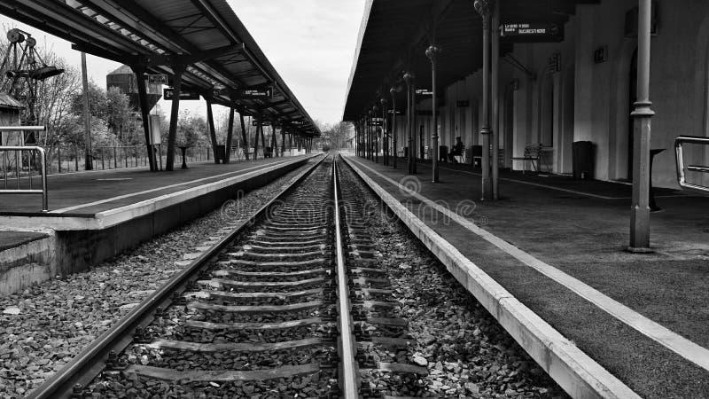 Train platform.Monochromatic scenery. Train platform .Fine art in black and white stock photography