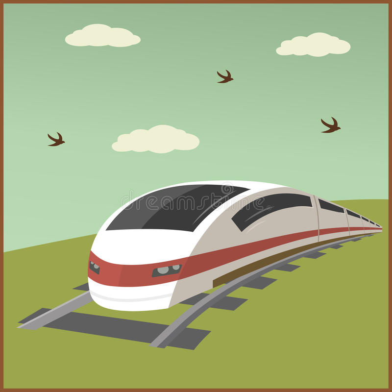 Train poster illustration royalty free stock photography