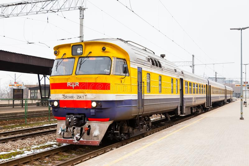 A Train Prepares to Depart Riga Central Station. On a winter day. The station is in the capital city of Latvia royalty free stock photography