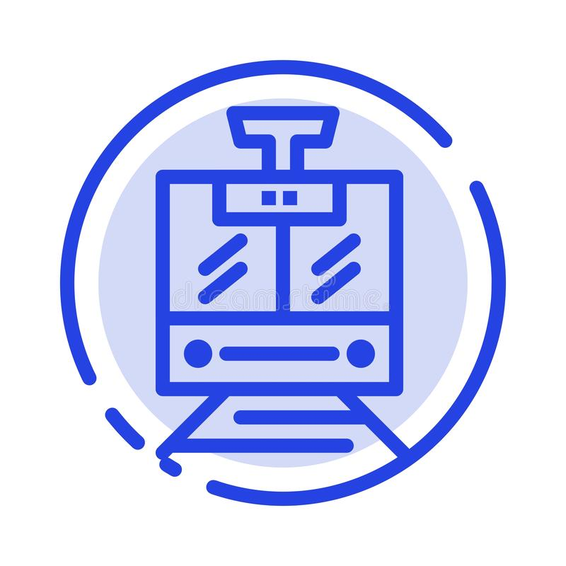 Train, Public, Service, Vehicle Blue Dotted Line Line Icon vector illustration