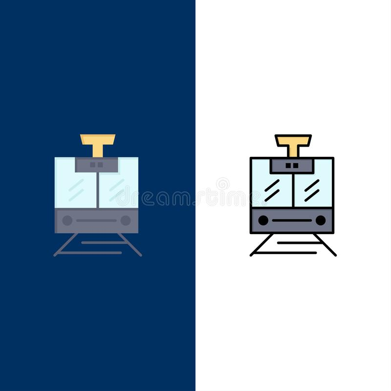 Train, Public, Service, Vehicle  Icons. Flat and Line Filled Icon Set Vector Blue Background vector illustration