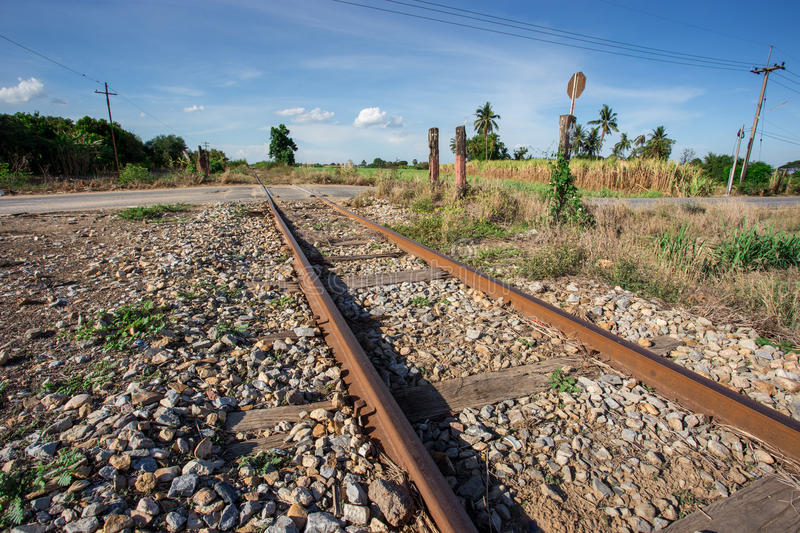 Train rail. With blue sky Thailand royalty free stock photography