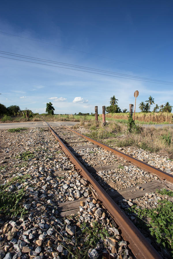 Train rail. With blue sky in the urban royalty free stock images