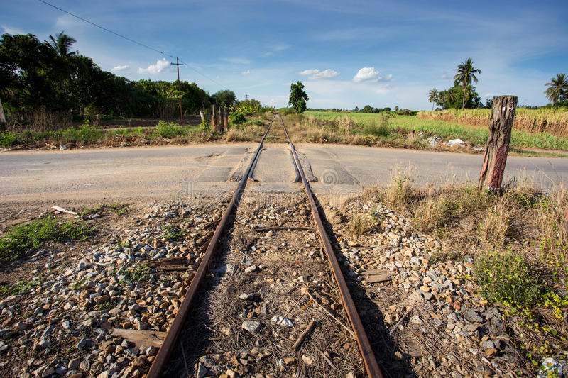 Train rail. With blue sky in urban royalty free stock images