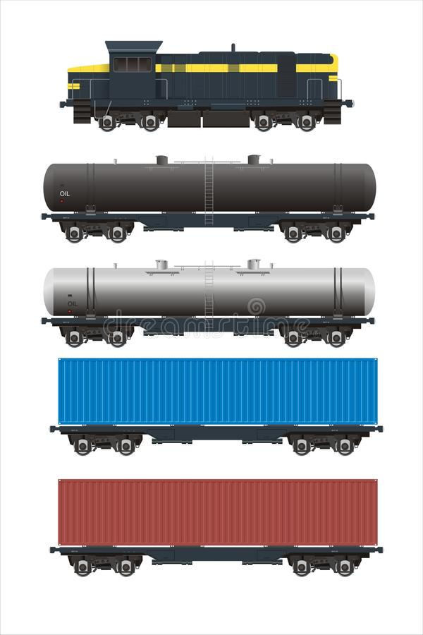 Download Train + Rail Cargo Cars Set Royalty Free Stock Photo - Image: 10509855