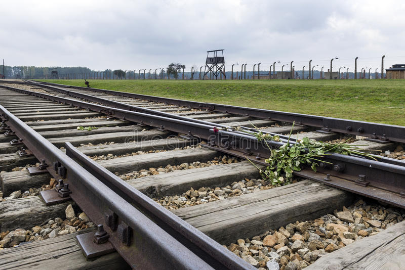 Train railroad at Auschwitz Birkenau, Concentration Camp, Poland. BRZEZINKA, POLAND - OCTOBER 13, 2012: Train railroad at Auschwitz Birkenau, Concentration Camp stock image