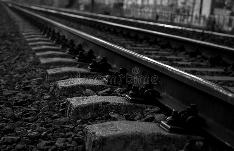 Train rails. In black and white stock photos