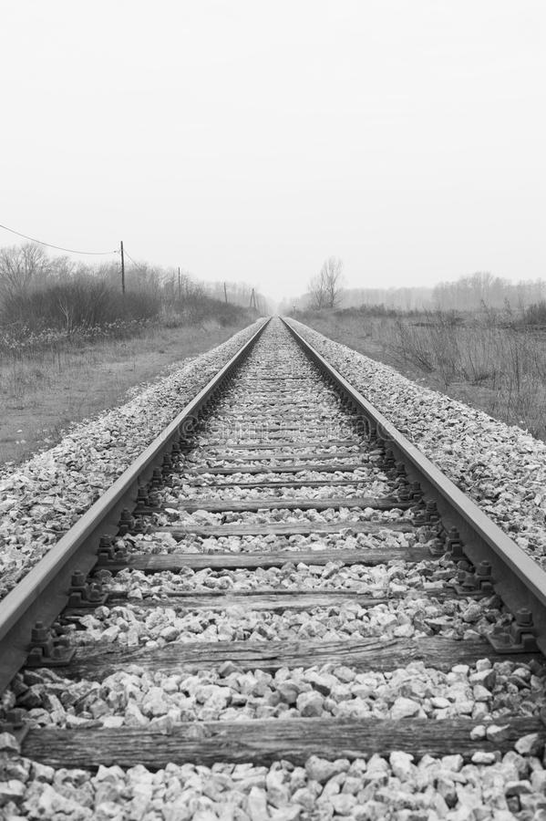 Train rails, black and white image of railway. Vertical image of railroad. royalty free stock images