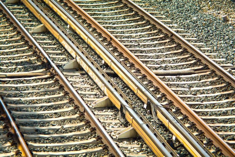 Train rails. Detailed view of train rails stock photo