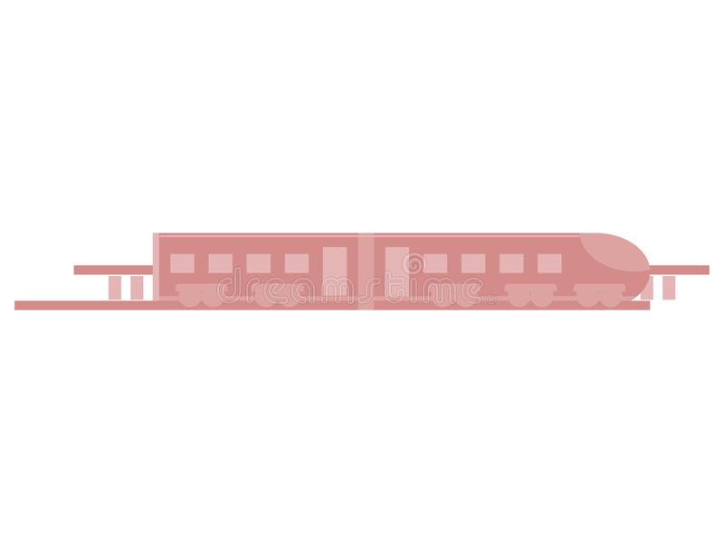 Train on rails in a flat style isolated on white background. Vector stock illustration