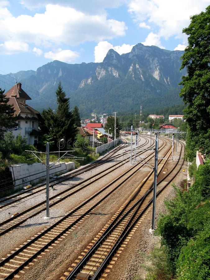 Download Train rails at mountain stock image. Image of busteni - 27459329