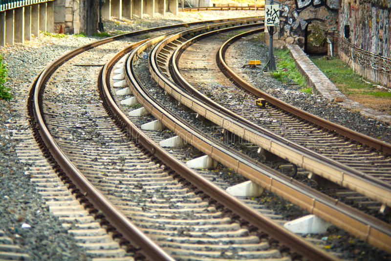 Train rails. Perspective view of train rails royalty free stock photos