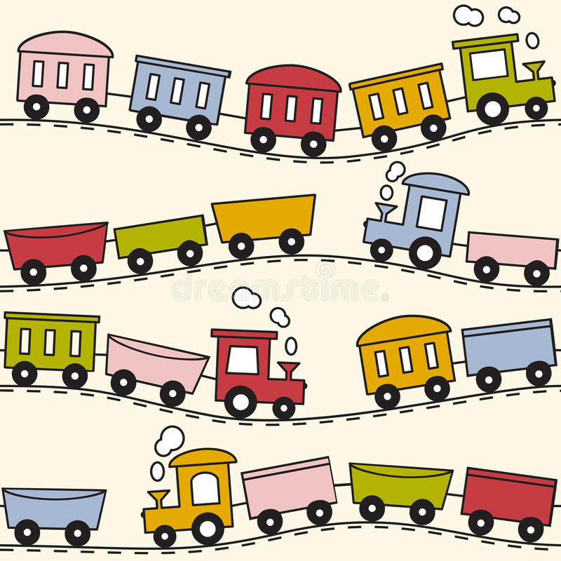 Train and rails - seamless pattern royalty free illustration