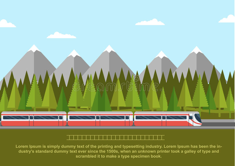 Train on railway with forest of conifers and mountains. Flat style vector illustration vector illustration