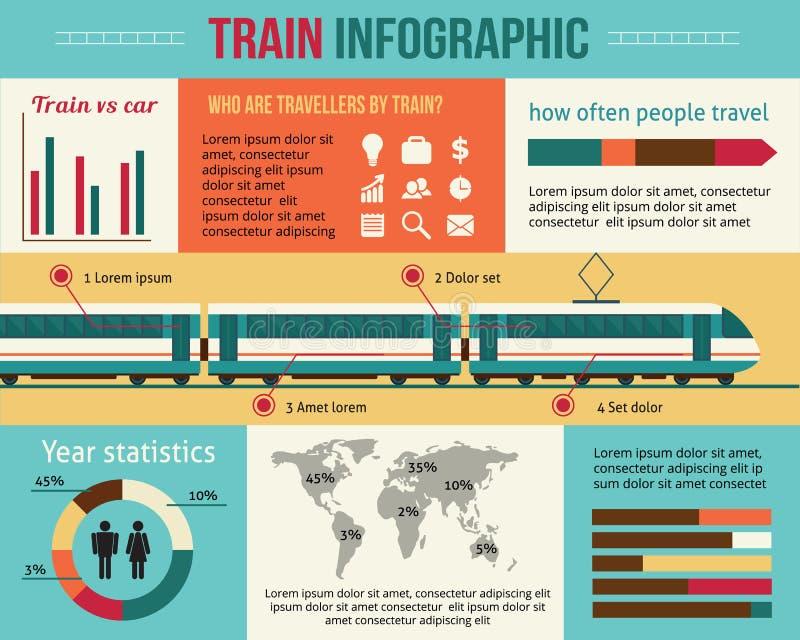 Train and railway infographic. stock illustration