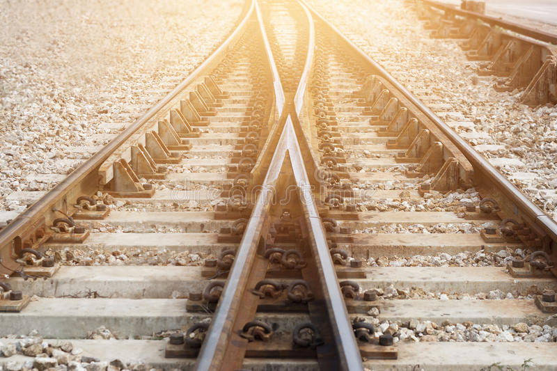 Train railway railroad track for junction. Train railway, railroad track for junction royalty free stock images