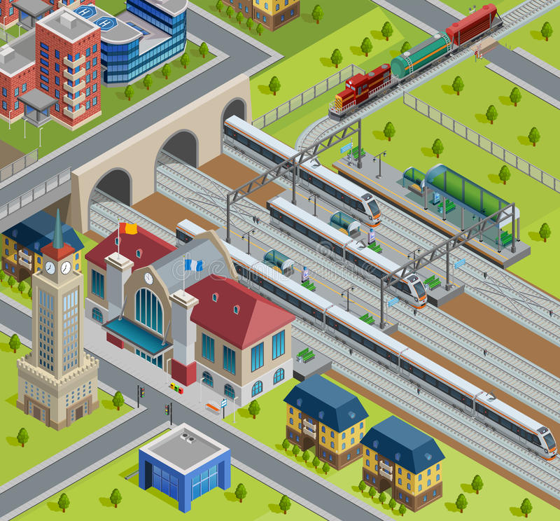 Train Railway Station Isometric Poster vector illustration