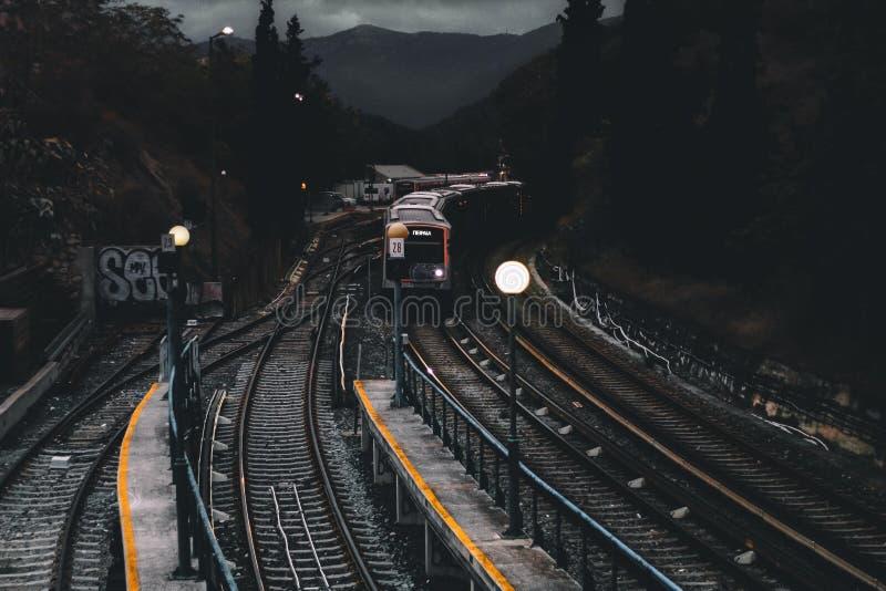 Train on Railways during Nighttime stock image
