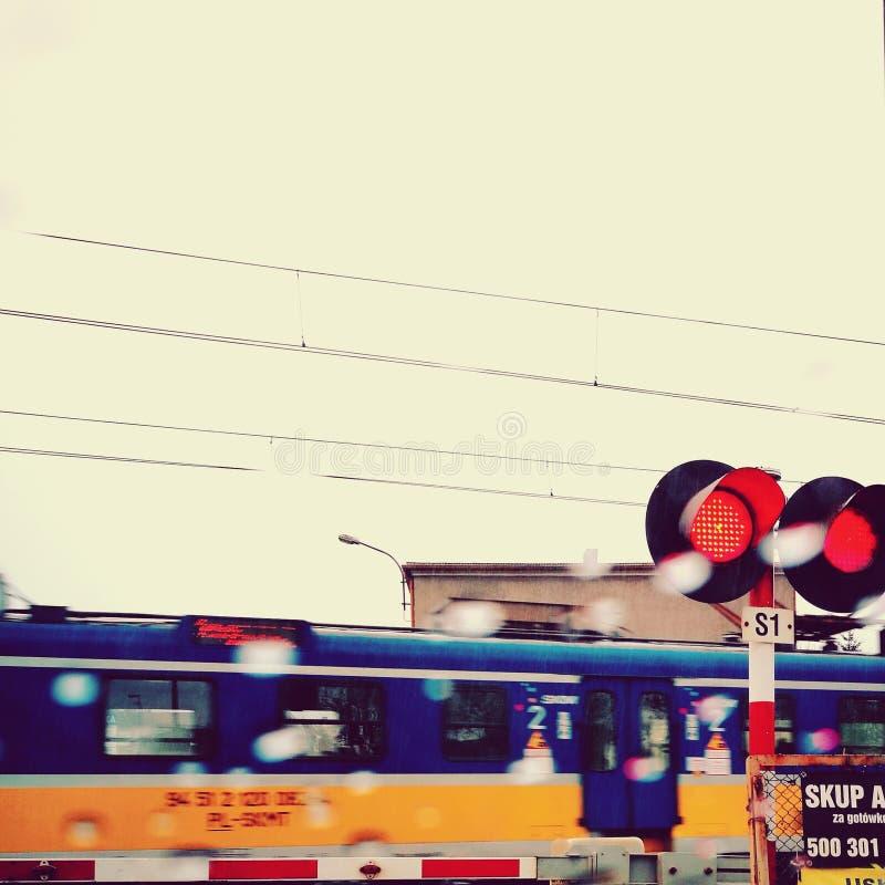 Rainy train. Artistic look in vivid colours. Train in the rain. Wejherowo, Poland stock photo