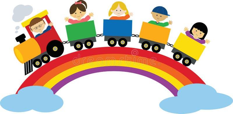 Train on Rainbow royalty free illustration