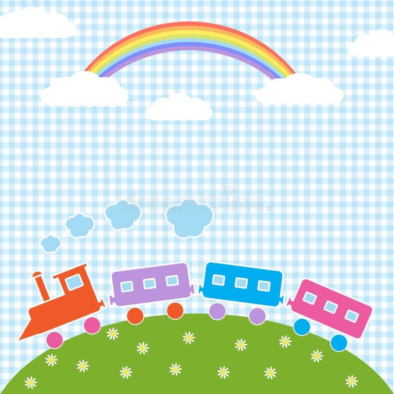 Train and rainbow stock illustration