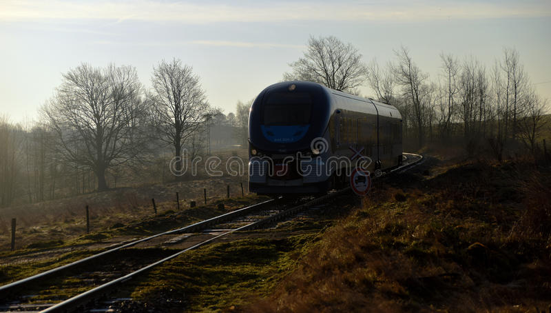 Train Regioshark in morning. Near Mikulasovice village stock images