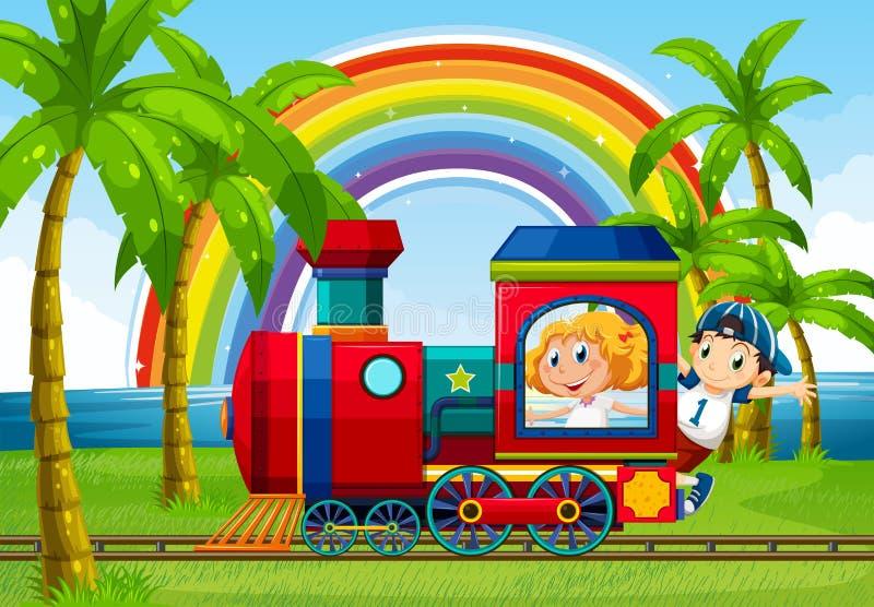 Train ride stock illustration