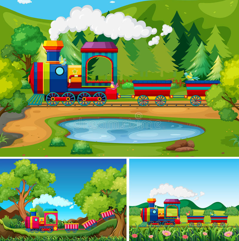 Train riding in the countryside scenes stock illustration