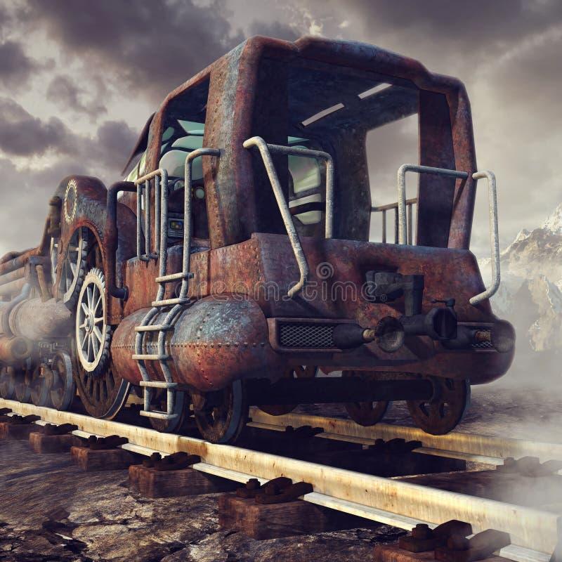Train rouillé dans les montagnes illustration de vecteur