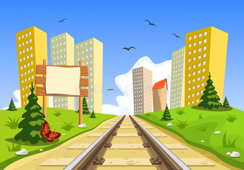 Train route into the city through the landscape royalty free illustration