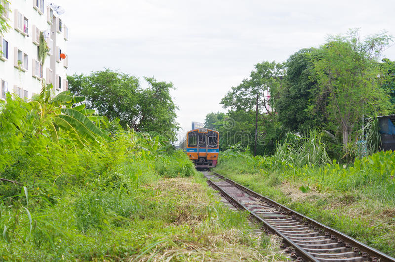 Train running in railway. Thailand train running in railway stock image
