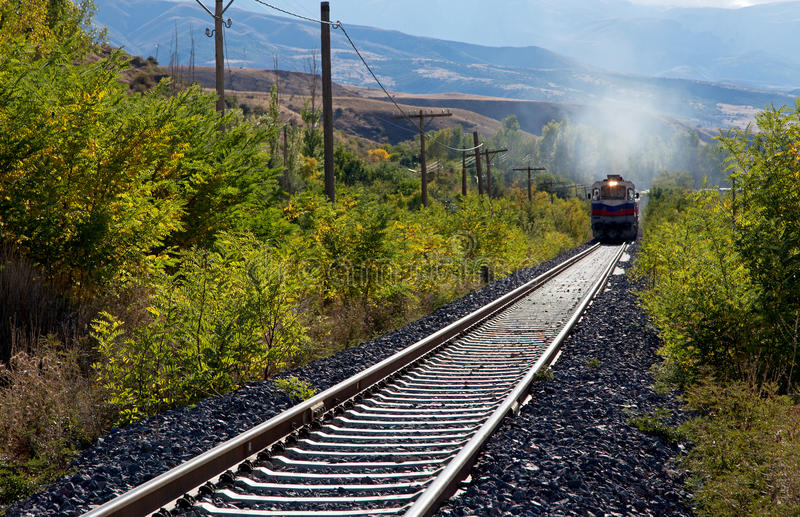 Train through the rural area royalty free stock photos