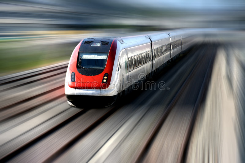 Train Series. Fast train with motion blur stock images