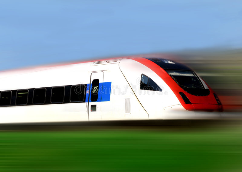 Train Series. Train speeding along its tracks with motion blur royalty free stock image
