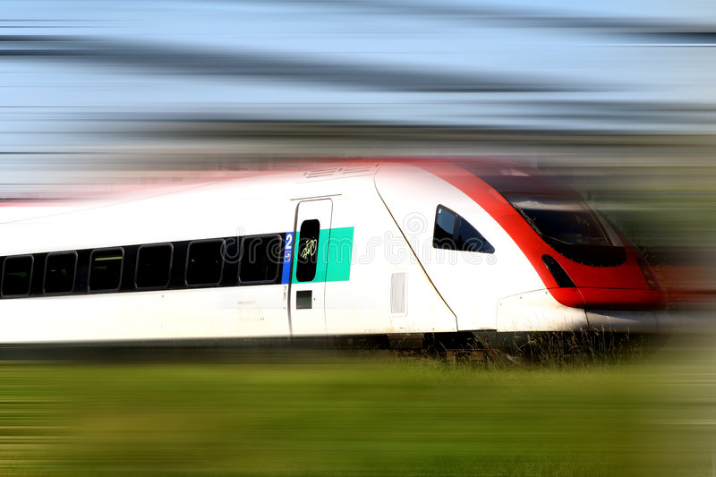 Train Series. Fast moving train with motion blur stock photo