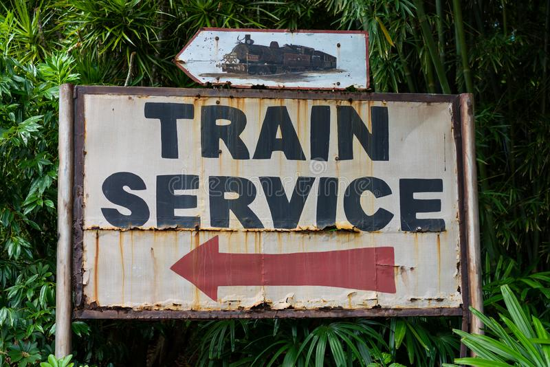 This train service sign is located in animal Kingdom at Disney World. Disney World is a very popular destination for tourists United States. The animal kingdom royalty free stock photos