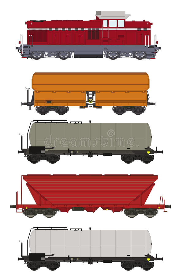 Train Set Freight Wagons And Locomotive Stock Illustration