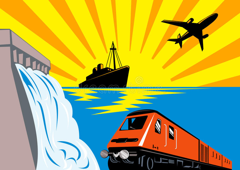 Train With Ship, Plane And Dam Stock Photography